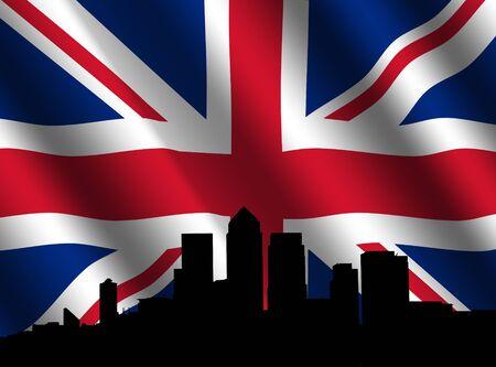 canary wharf: London Docklands Skyline and rippled British Flag illustration Stock Photo