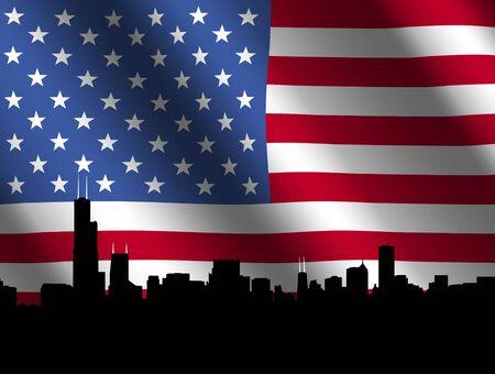 sears: Chicago skyline against rippled American Flag illustration Stock Photo