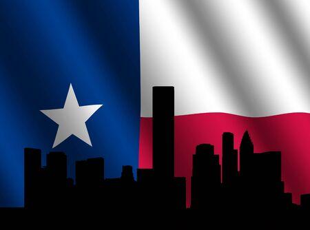 houston flag: Houston skyline with rippled Texan flag