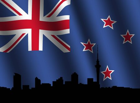 rippled: Auckland skyline against rippled New Zealand flag illustration
