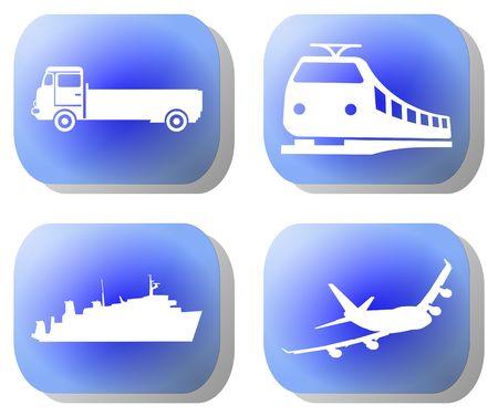 Blauwe transport knoppen trein vlak schip illustratie  Stockfoto - 3440464