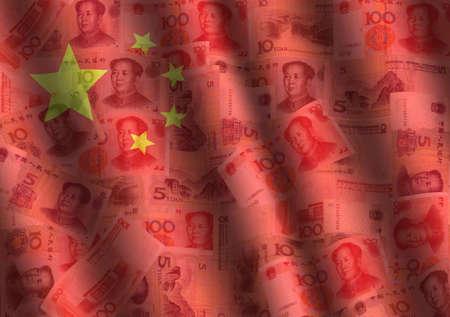 rippled Yuan and Chinese flag background illustration Stock Illustration - 3440468