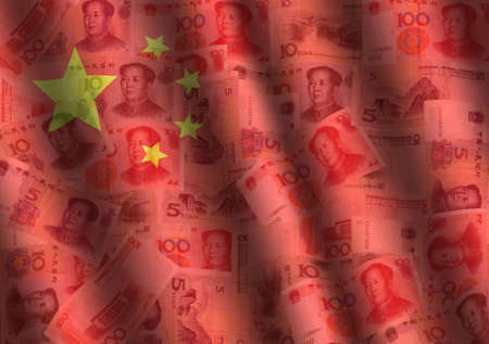 yuan: rippled Yuan and Chinese flag background illustration