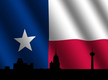 texan: San Antonio skyline with rippled Texan flag illustration