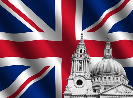 st pauls: desaturated St Pauls cathedral London with rippled British flag illustration Stock Photo