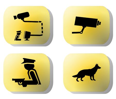 paranoia: Security buttons guard dogs, cctv camera, and armed guard illustration