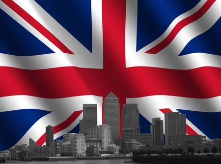 canary wharf: desaturated docklands skyline with rippled British flag illustration