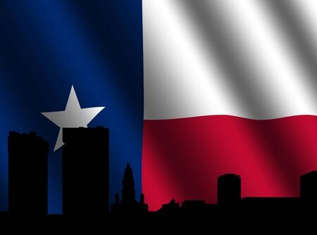 Fort Worth Skyline against Texan flag illustration illustration