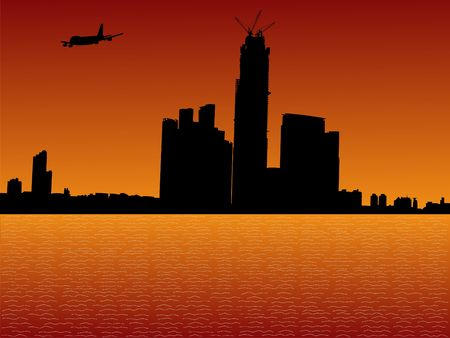 plane arriving in Hong Kong at sunset illustration illustration