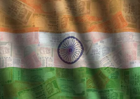 rippled: rippled Rupee and Indian flag background illustration