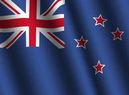 flag of new zealand: rippled New Zealand flag background illustration Stock Photo