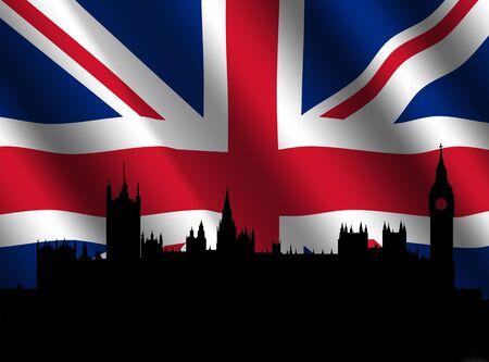houses of parliament: Houses of Parliament London with rippled British flag Stock Photo