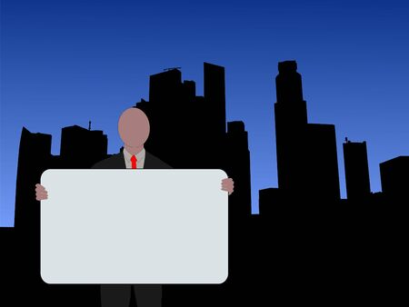 singapore skyline: business man holding sign and Singapore Skyline illustration