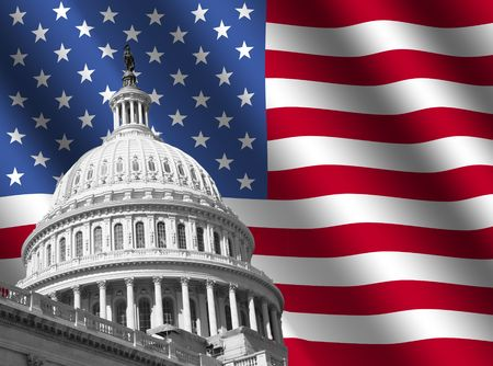 government: dome of US Capitol building Washington DC with rippled American flag