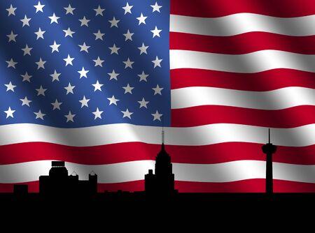 San Antonio skyline with rippled American flag illustration illustration