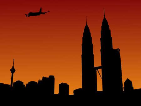 plane arriving in Kuala Lumpur at sunset illustration