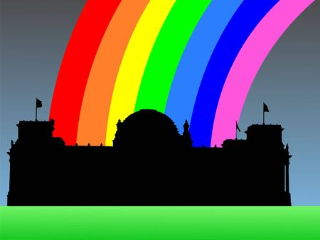 refracted: Reichstag German Parliament building with colourful rainbow illustration Stock Photo