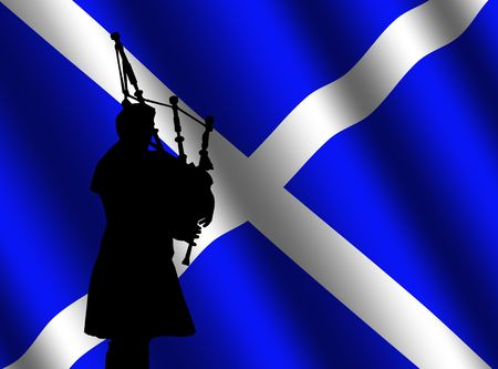 scottish: bag piper in kilt with rippled Scottish flag Illustration Stock Photo