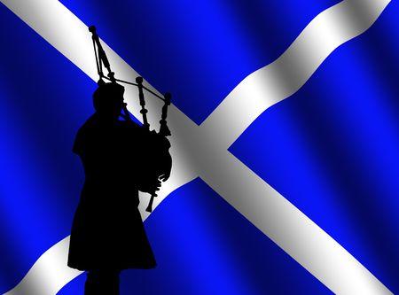 bag piper in kilt with rippled Scottish flag Illustration