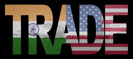 container port: Trade text with Indian and American flags over container ships at port