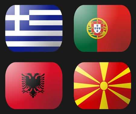 macedonia: Portugal Greece Albania Macedonia Flag buttons illustration Stock Photo