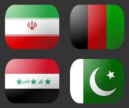 pakistani pakistan: Iran Iraq Afghanistan Pakistan Flag buttons illustration
