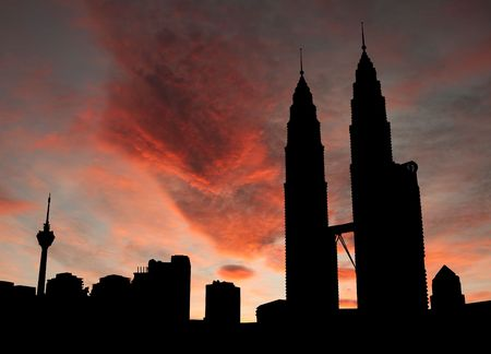 Kuala Lumpur skyline with twin Towers at sunset illustration