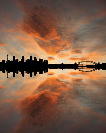 sydney skyline: Sydney skyline at sunset with beautiful sky illustration