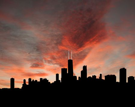 Chicago skyline at sunset with beautiful sky illustration