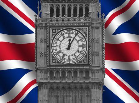 Big Ben bell tower with rippled British Flag illustration