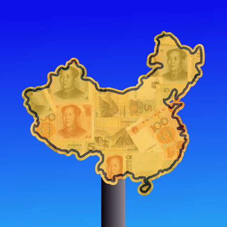 warning sign in shape of China with Yuan photo