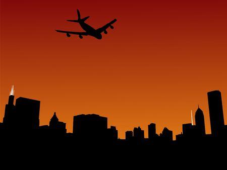 plane arriving in Chicago at sunset illustration illustration