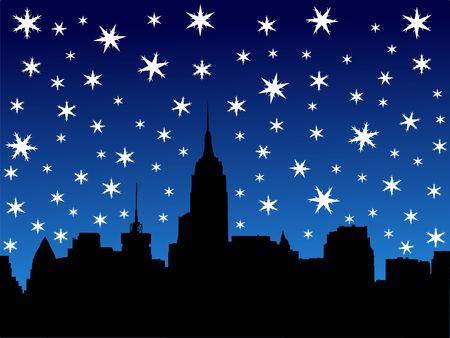 iciness: Midtown manhattan New York City skyline in winter illustration