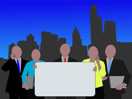 seattle skyline: business team with sign and Seattle skyline illustration