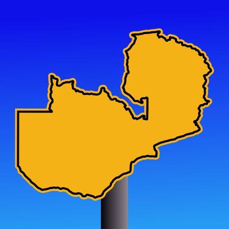 zambian: yellow Zambia map warning sign on blue illustration