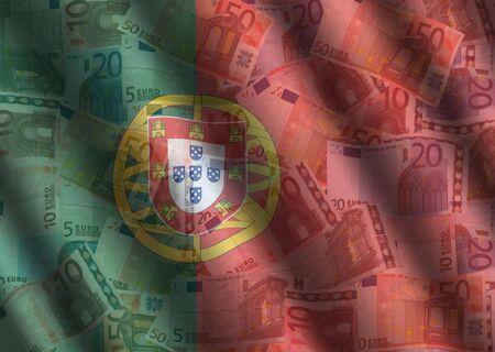 rippled Euros and Portuguese flag background photo