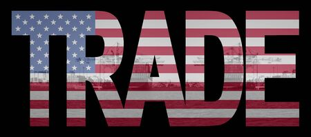 Trade text with American flag over container ships at port Stock Photo - 3515347