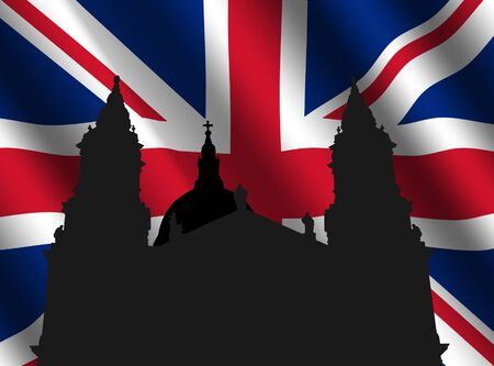 st pauls: St Pauls cathedral London with rippled British flag illustration