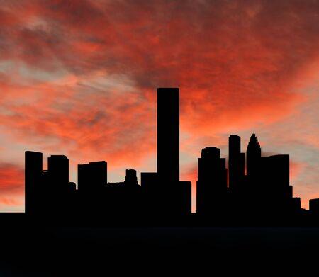 houston: Houston skyline at sunset with beautiful sky illustration