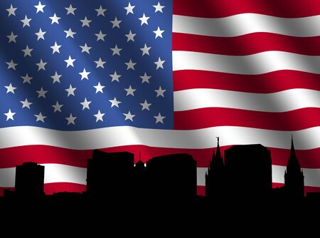 tabernacle: Salt Lake city skyline with rippled American flag illustration Stock Photo