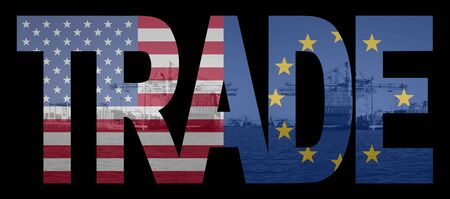 Trade text with American and European Union flags over container ships at port photo