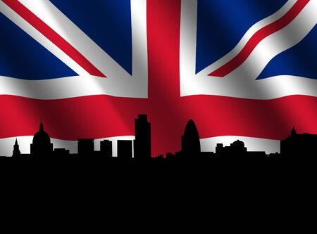 St Pauls cathedral and London skyscrapers with rippled British flag illustration illustration