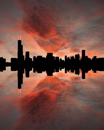 Chicago skyline reflected at sunset illustration illustration