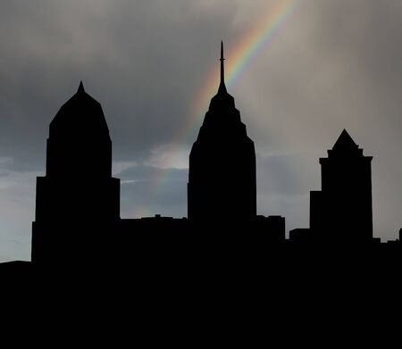 Philadelphia skyline with rainbow and dark clouds illustration illustration