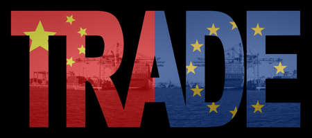 trade union: Trade text with chinese and European Union flags over container ships at port