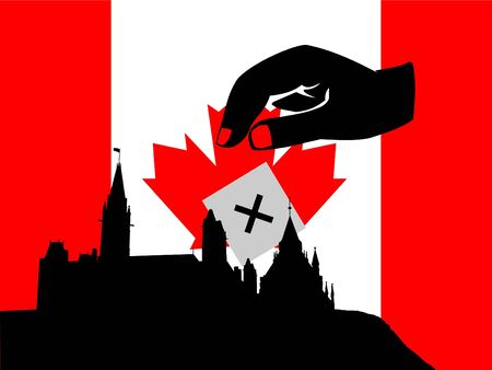hand voting in Canadian election with flag and parliament photo