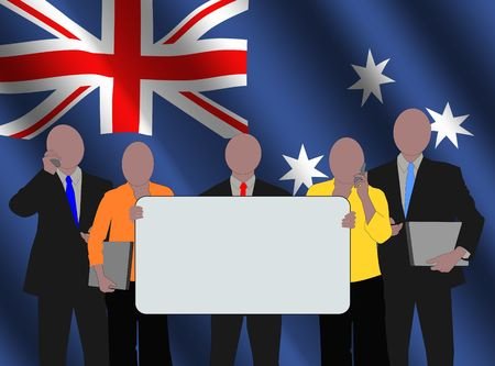 Australian business team with rippled flag illustration Stock Illustration - 3536932