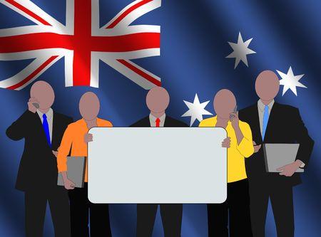 Australian business team with rippled flag illustration Stock Illustration - 3536932
