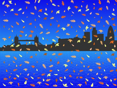 rown: London skyline in autumn with falling leaves illustration Stock Photo