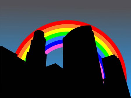 refracted: Los Angeles skyline with colourful rainbow illustration Stock Photo